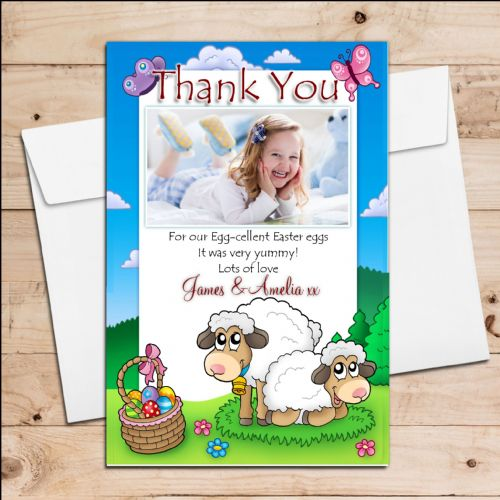 10 Personalised Girls Boys Happy Easter Egg Thank you Photo Post Cards N4